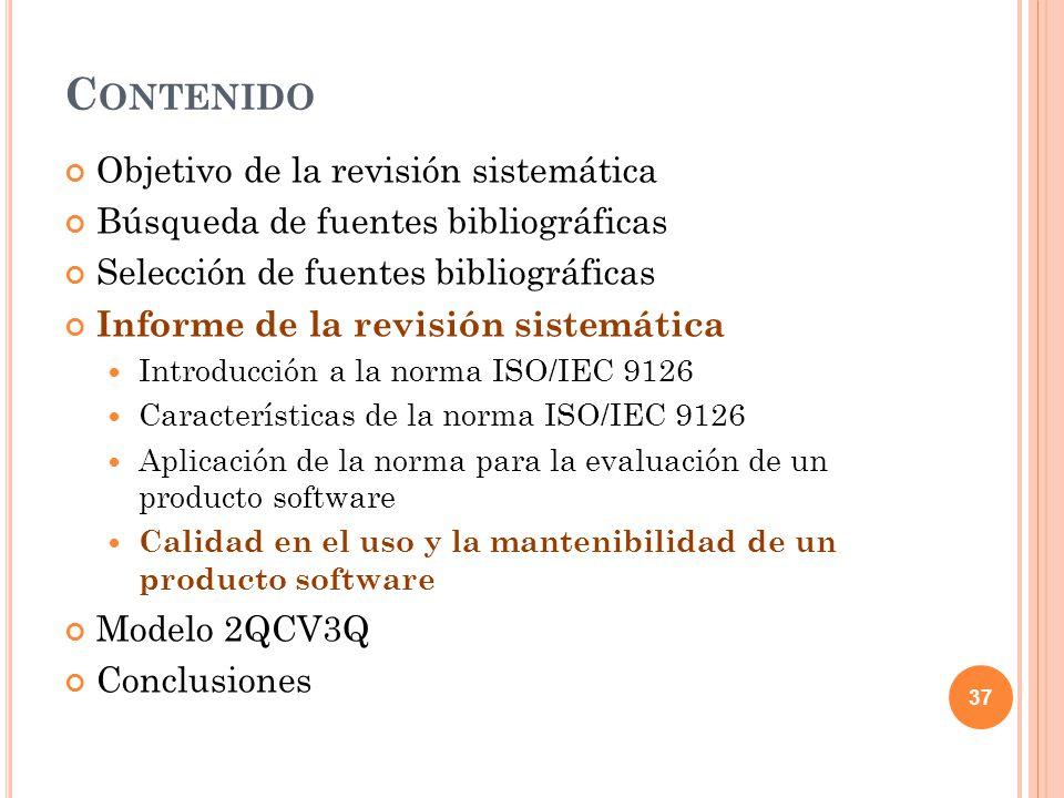 C ALIDAD DEL USO Y LA MANTENIBILIDAD La mantenibilidad es una característica principal dentro de la calidad de un sistema software según la ISO 9126.