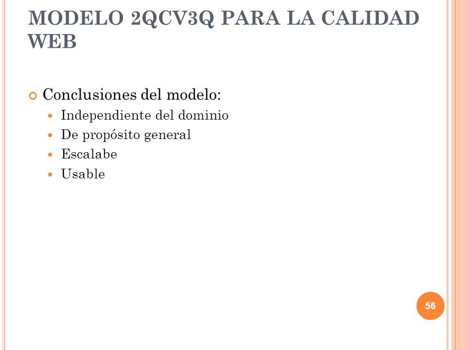 Conclusiones del modelo: Independiente del dominio De propósito general Escalabe Usable MODELO 2QCV3Q PARA LA CALIDAD WEB 56
