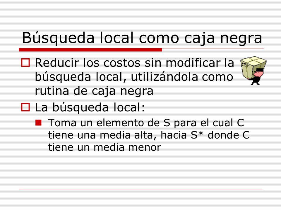 Búsqueda local como caja negra Reducir los costos sin modificar la búsqueda local, utilizándola como rutina de caja negra La búsqueda local: Toma un e