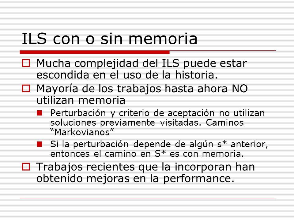 ILS con o sin memoria Mucha complejidad del ILS puede estar escondida en el uso de la historia. Mayoría de los trabajos hasta ahora NO utilizan memori