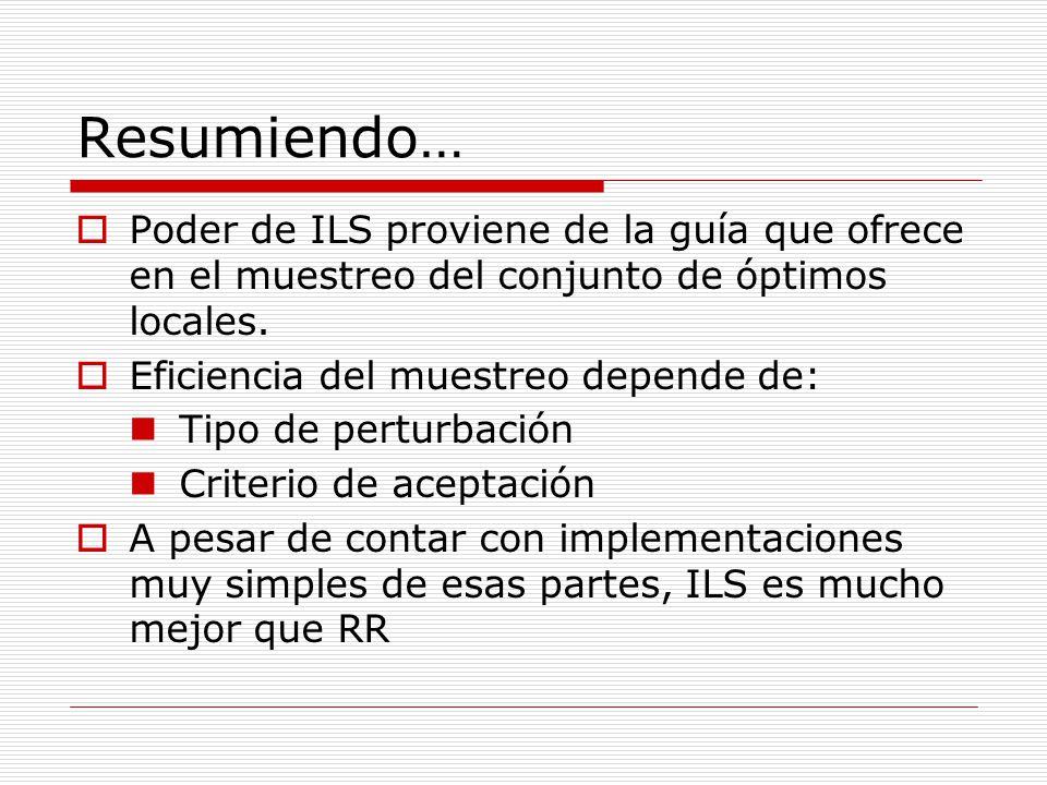 Resumiendo… Poder de ILS proviene de la guía que ofrece en el muestreo del conjunto de óptimos locales. Eficiencia del muestreo depende de: Tipo de pe