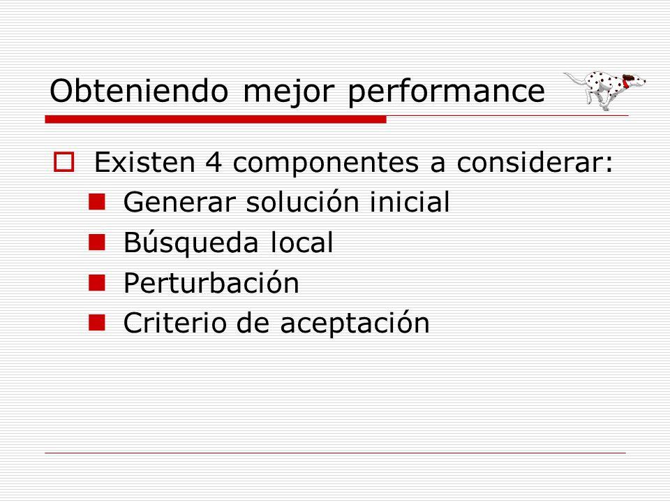 Obteniendo mejor performance Existen 4 componentes a considerar: Generar solución inicial Búsqueda local Perturbación Criterio de aceptación