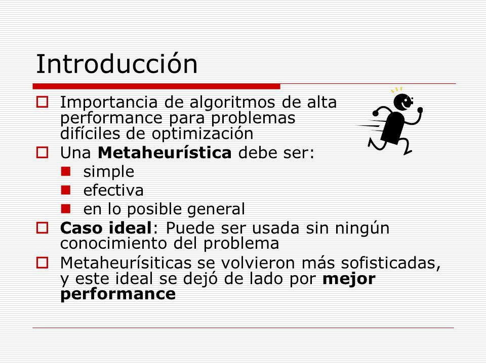 Introducción (cont) Incorporación de conocimiento específico del problema en la metaheurísitca Hace más difusa la diferencia entre heurística y metaheurística Solución: Modularidad y descomposición de la metaheurística en partes: Totalmente de propósito general Conocimiento específico del problema