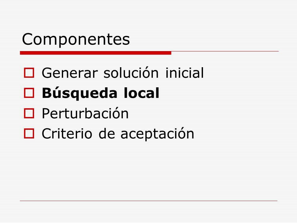 Componentes Generar solución inicial Búsqueda local Perturbación Criterio de aceptación