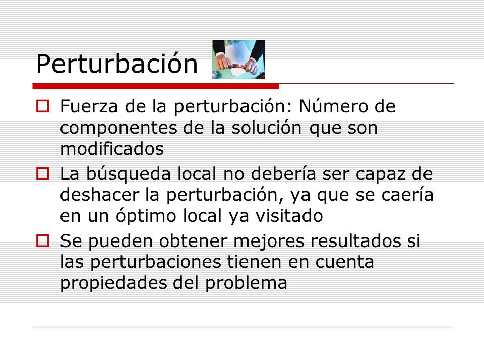Perturbación Fuerza de la perturbación: Número de componentes de la solución que son modificados La búsqueda local no debería ser capaz de deshacer la