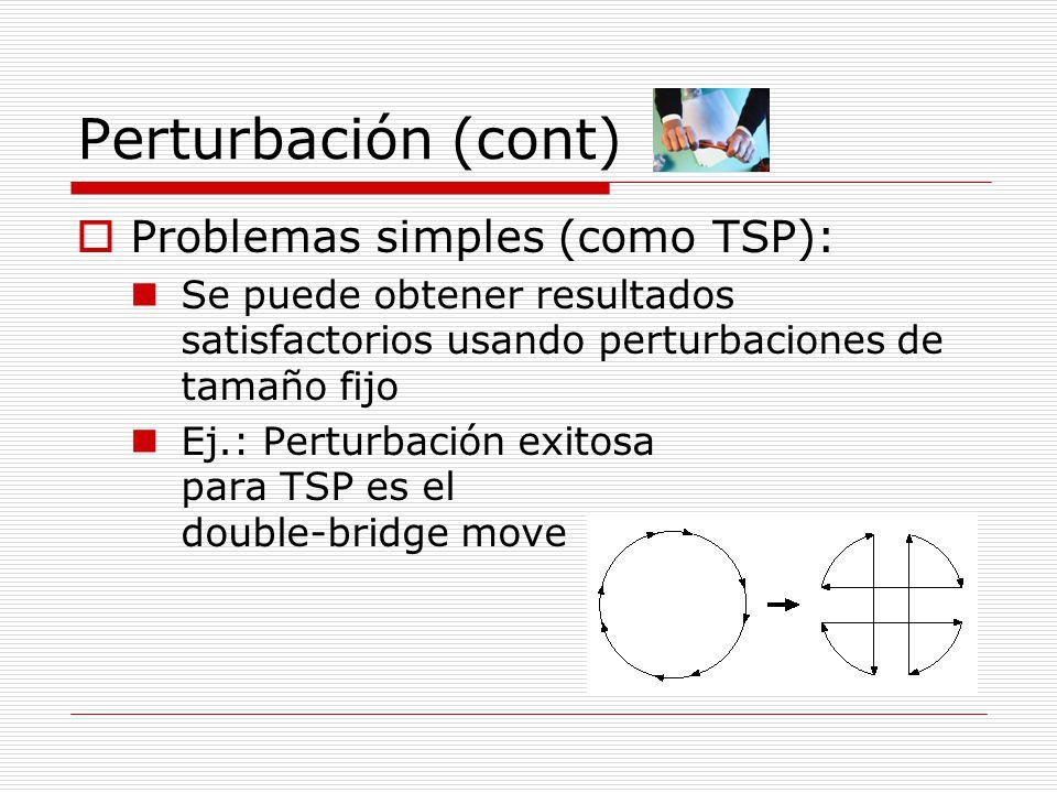 Perturbación (cont) Problemas simples (como TSP): Se puede obtener resultados satisfactorios usando perturbaciones de tamaño fijo Ej.: Perturbación ex