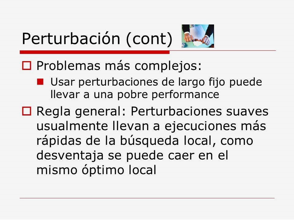 Perturbación (cont) Problemas más complejos: Usar perturbaciones de largo fijo puede llevar a una pobre performance Regla general: Perturbaciones suav