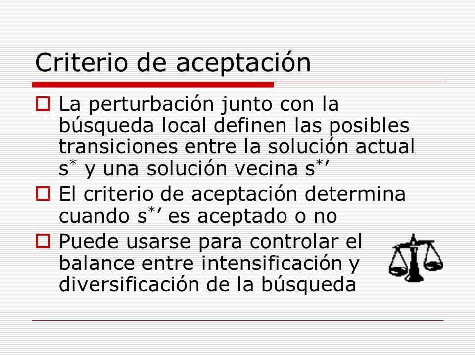 La perturbación junto con la búsqueda local definen las posibles transiciones entre la solución actual s * y una solución vecina s * El criterio de ac
