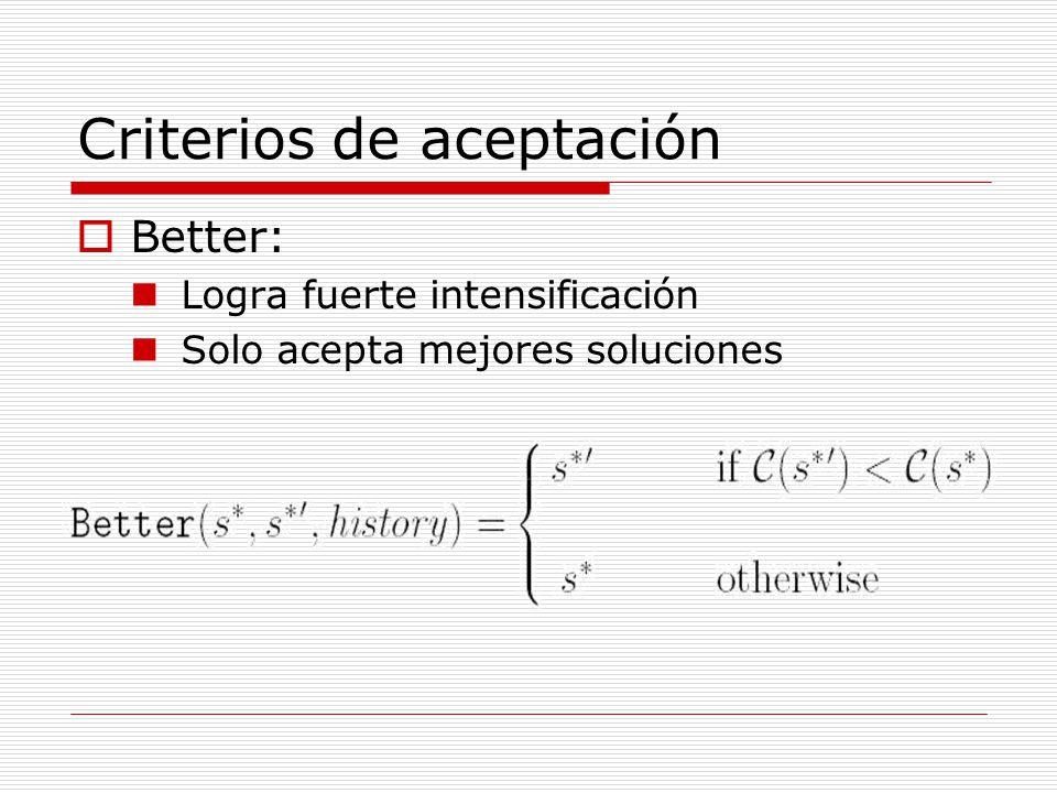 Criterios de aceptación Better: Logra fuerte intensificación Solo acepta mejores soluciones
