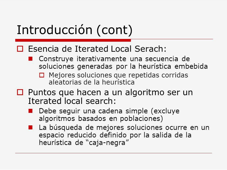Introducción (cont) Esencia de Iterated Local Serach: Construye iterativamente una secuencia de soluciones generadas por la heurística embebida Mejore
