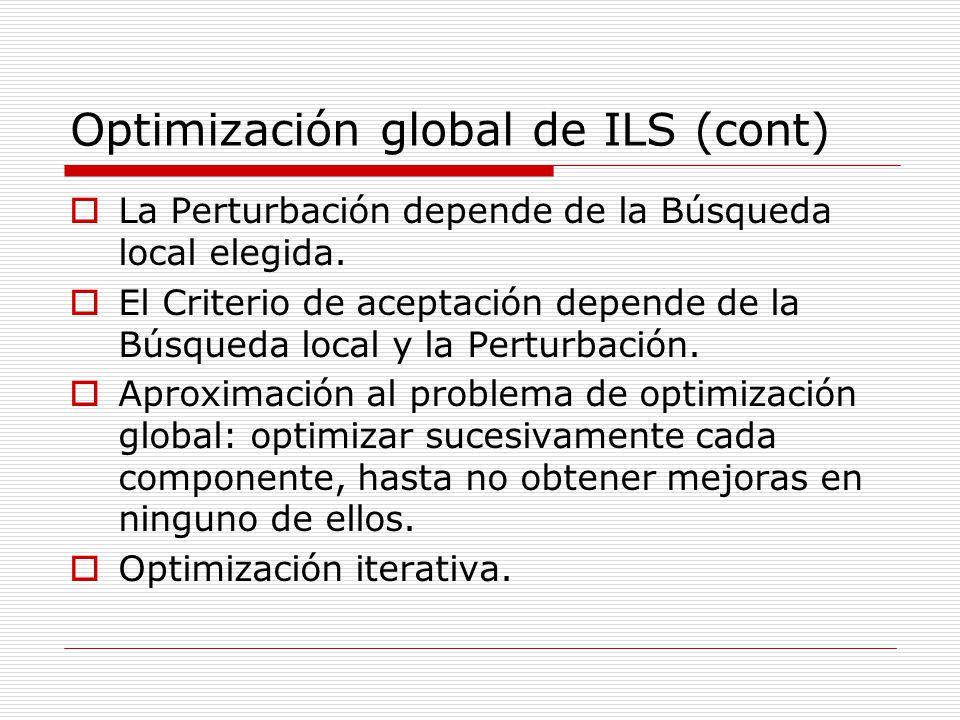 Optimización global de ILS (cont) La Perturbación depende de la Búsqueda local elegida. El Criterio de aceptación depende de la Búsqueda local y la Pe