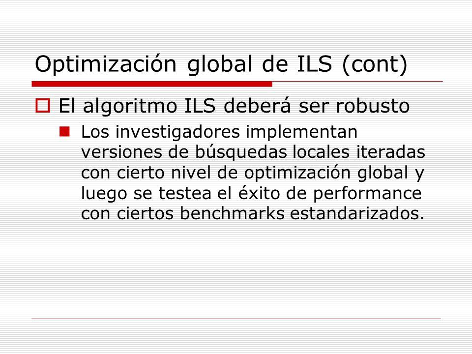 Optimización global de ILS (cont) El algoritmo ILS deberá ser robusto Los investigadores implementan versiones de búsquedas locales iteradas con ciert
