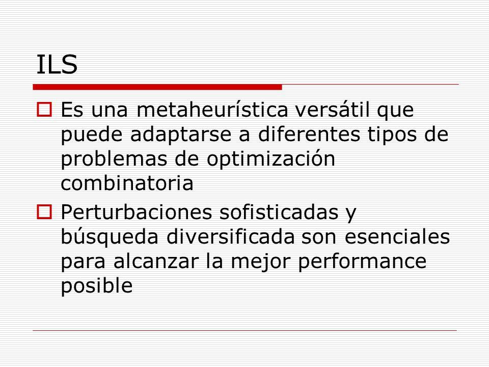 ILS Es una metaheurística versátil que puede adaptarse a diferentes tipos de problemas de optimización combinatoria Perturbaciones sofisticadas y búsq