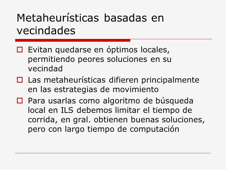 Metaheurísticas basadas en vecindades Evitan quedarse en óptimos locales, permitiendo peores soluciones en su vecindad Las metaheurísticas difieren pr
