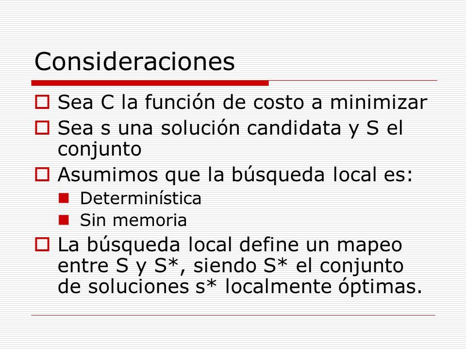 Consideraciones Sea C la función de costo a minimizar Sea s una solución candidata y S el conjunto Asumimos que la búsqueda local es: Determinística S