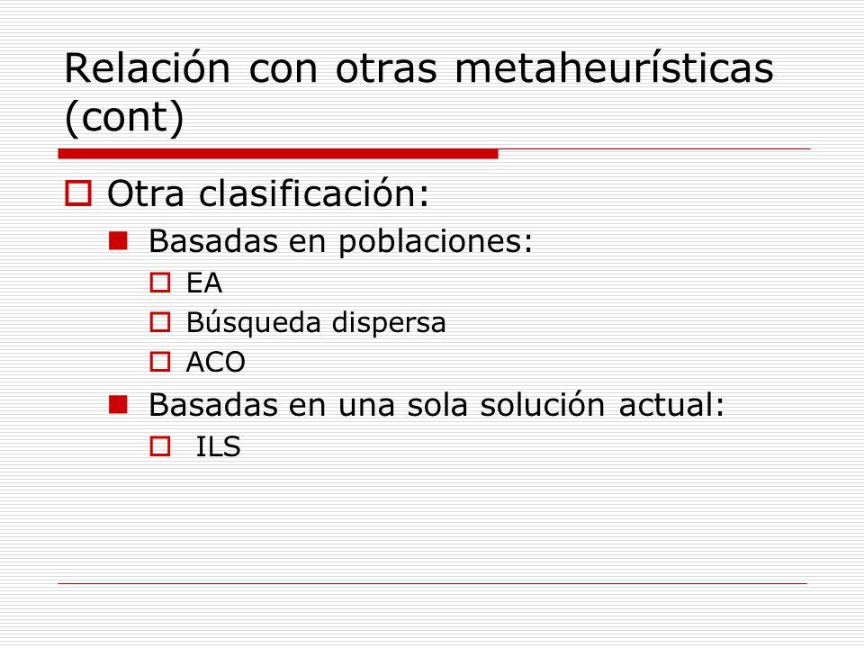 Relación con otras metaheurísticas (cont) Otra clasificación: Basadas en poblaciones: EA Búsqueda dispersa ACO Basadas en una sola solución actual: IL
