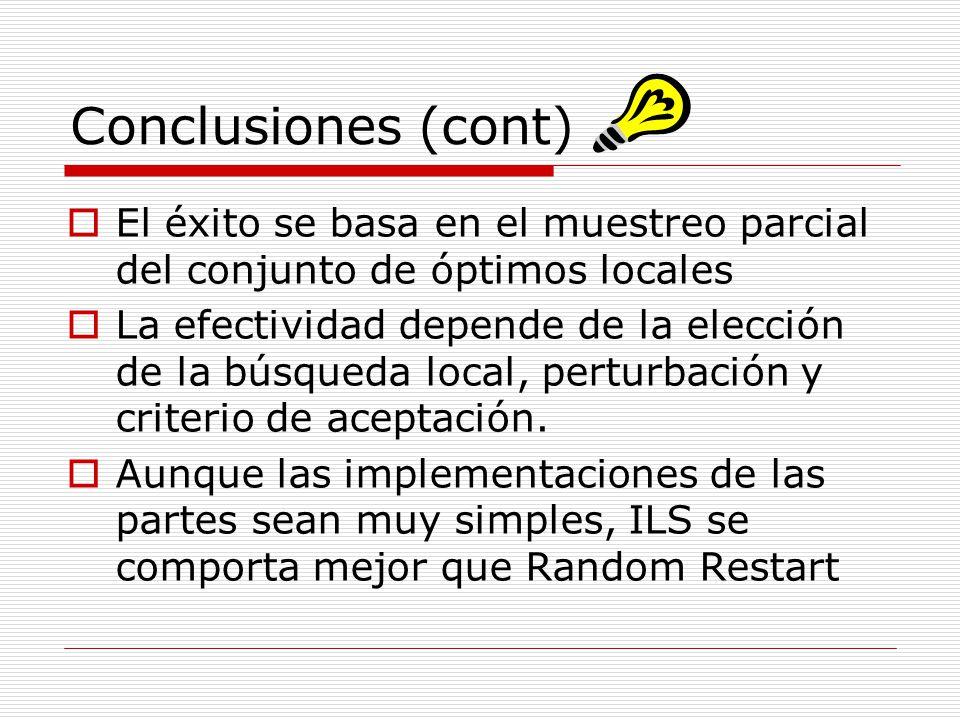 Conclusiones (cont) El éxito se basa en el muestreo parcial del conjunto de óptimos locales La efectividad depende de la elección de la búsqueda local