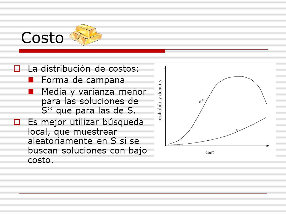 Costo La distribución de costos: Forma de campana Media y varianza menor para las soluciones de S* que para las de S. Es mejor utilizar búsqueda local