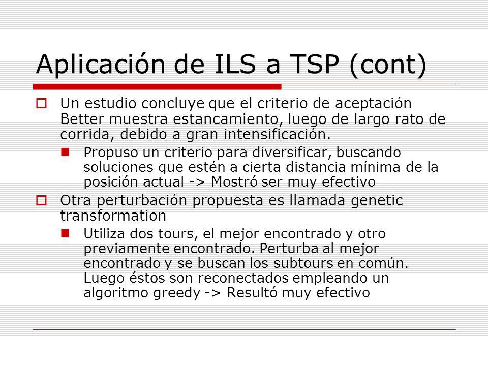 Aplicación de ILS a TSP (cont) Un estudio concluye que el criterio de aceptación Better muestra estancamiento, luego de largo rato de corrida, debido