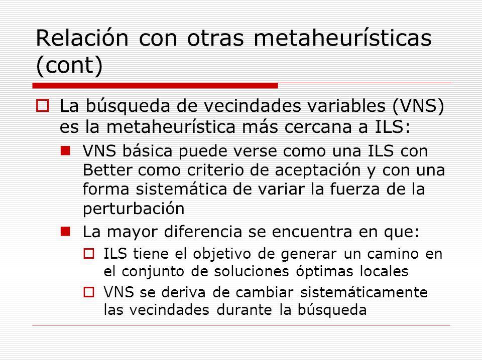 Relación con otras metaheurísticas (cont) La búsqueda de vecindades variables (VNS) es la metaheurística más cercana a ILS: VNS básica puede verse com