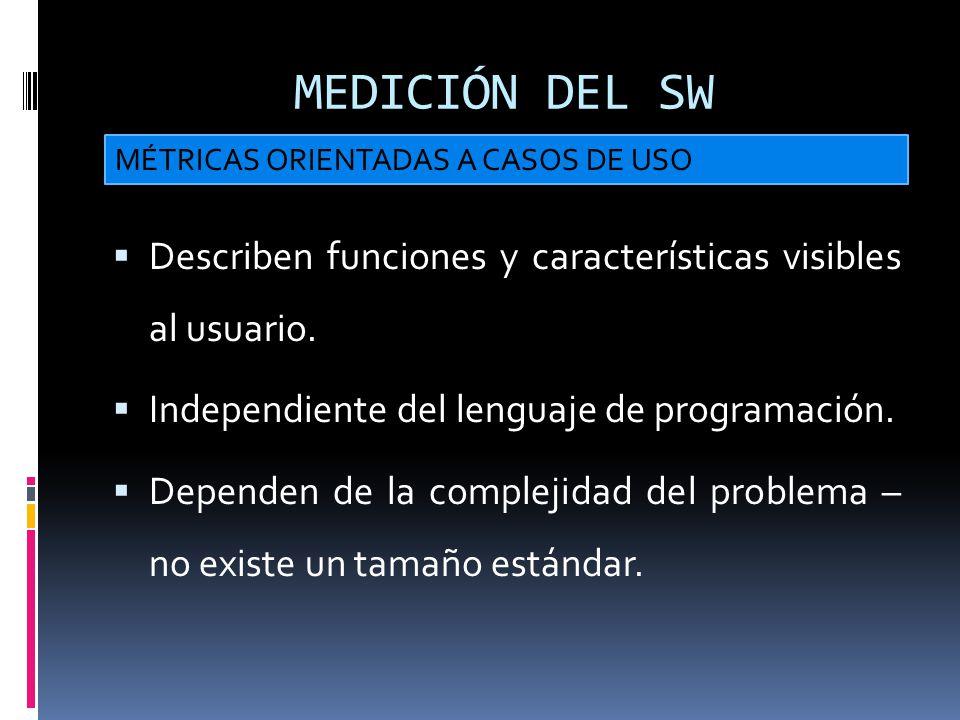 MEDICIÓN DEL SW Describen funciones y características visibles al usuario. Independiente del lenguaje de programación. Dependen de la complejidad del