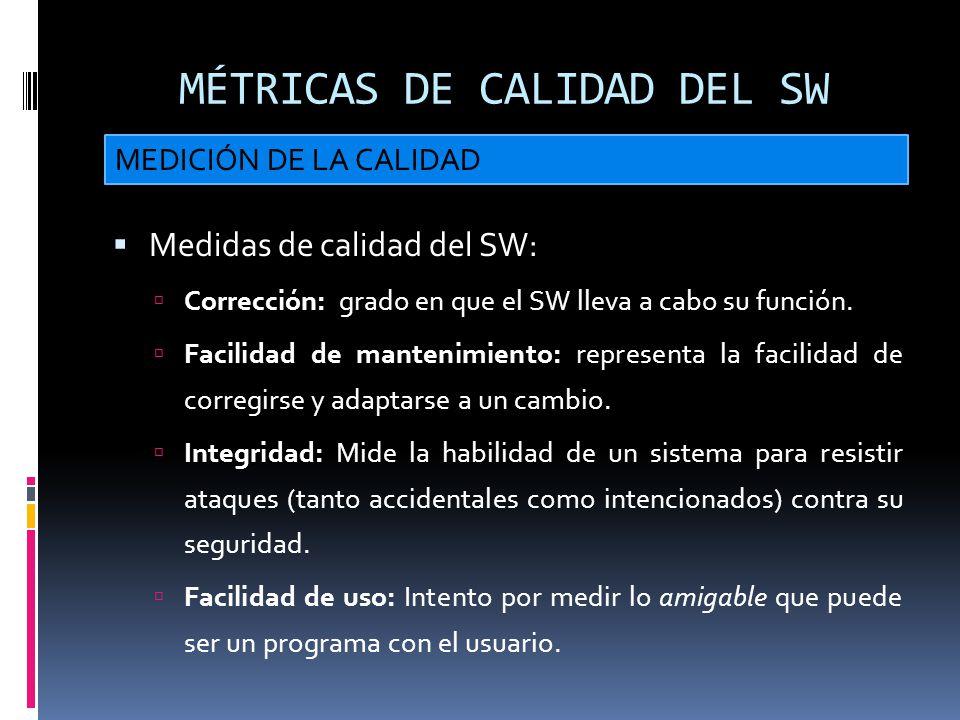 MÉTRICAS DE CALIDAD DEL SW Medidas de calidad del SW: Corrección: grado en que el SW lleva a cabo su función. Facilidad de mantenimiento: representa l