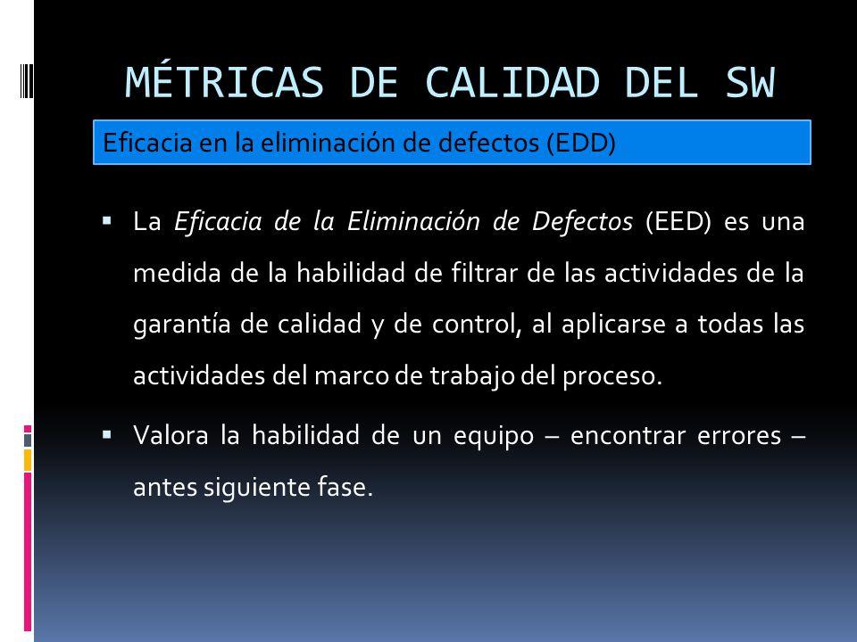 MÉTRICAS DE CALIDAD DEL SW La Eficacia de la Eliminación de Defectos (EED) es una medida de la habilidad de filtrar de las actividades de la garantía