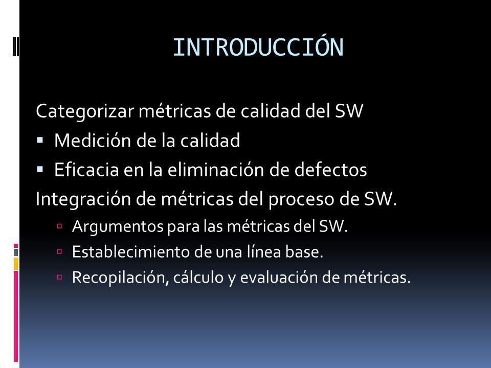 INTRODUCCIÓN Categorizar métricas de calidad del SW Medición de la calidad Eficacia en la eliminación de defectos Integración de métricas del proceso