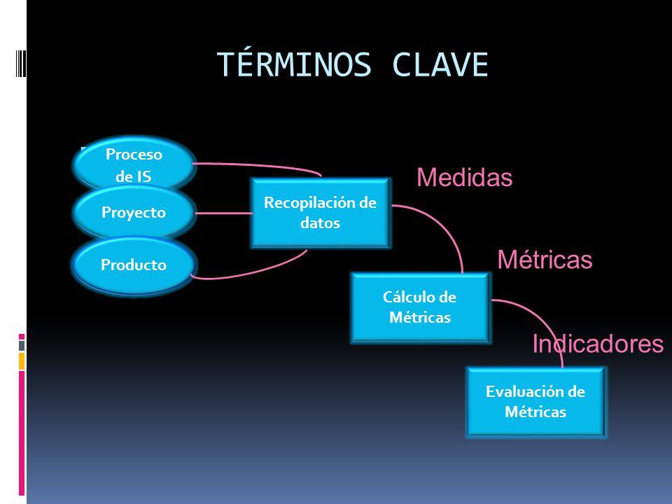 TÉRMINOS CLAVE M Proceso de IS Proyecto Producto Recopilación de datos Cálculo de Métricas Evaluación de Métricas Medidas Métricas Indicadores