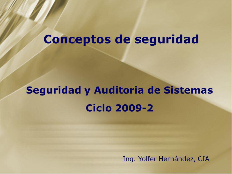 Seguridad y Auditoria de Sistemas Ciclo 2009-2 Conceptos de seguridad Ing. Yolfer Hernández, CIA