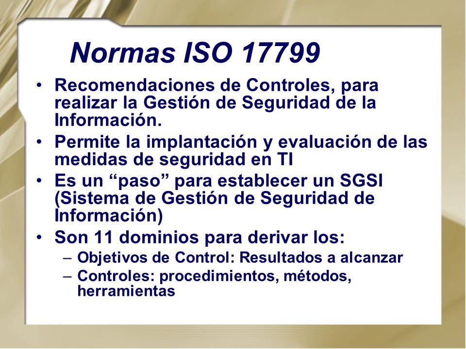 Recomendaciones de Controles, para realizar la Gestión de Seguridad de la Información. Permite la implantación y evaluación de las medidas de segurida