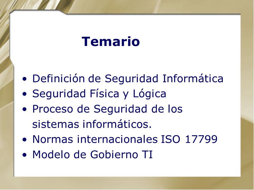 Definición de Seguridad Informática Seguridad Física y Lógica Proceso de Seguridad de los sistemas informáticos. Normas internacionales ISO 17799 Mode