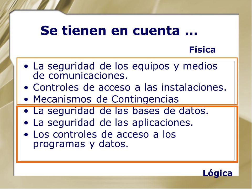 Se tienen en cuenta … La seguridad de los equipos y medios de comunicaciones. Controles de acceso a las instalaciones. Mecanismos de Contingencias La