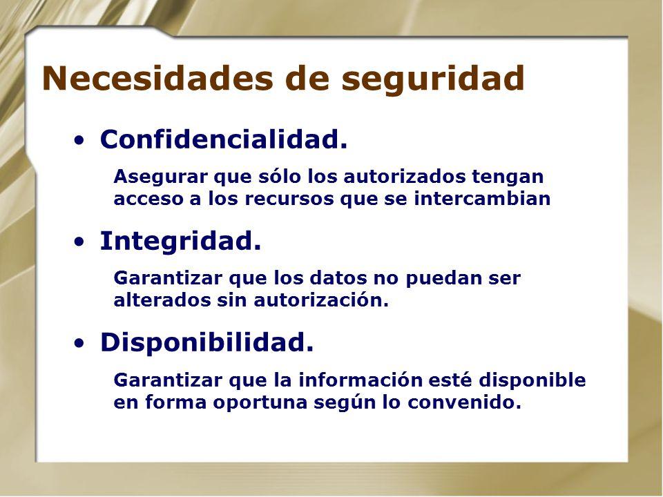 Necesidades de seguridad Confidencialidad. Asegurar que sólo los autorizados tengan acceso a los recursos que se intercambian Integridad. Garantizar q