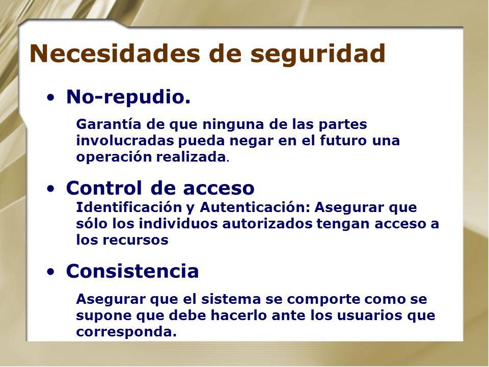 Necesidades de seguridad No-repudio. Garantía de que ninguna de las partes involucradas pueda negar en el futuro una operación realizada. Control de a