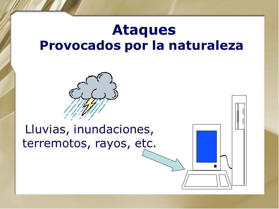 Amenazas / Ataques Desastres Naturales Errores Humanos y Procedimentales Errores Tecnológicos: Hardware y Software Actos Malintencionados Entorno de l