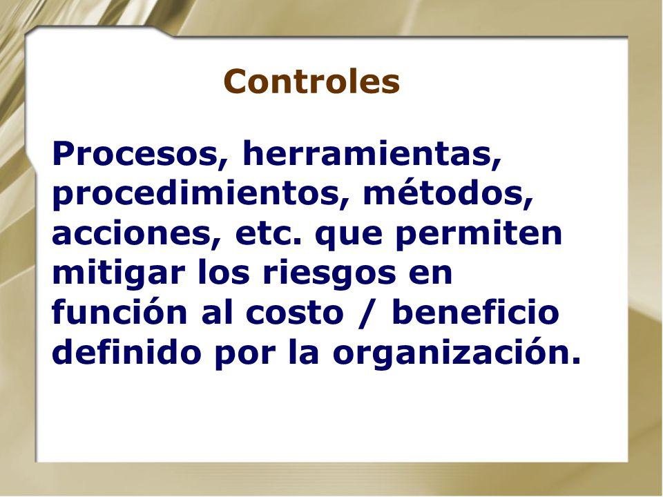 Riesgos - tipos básicos Pérdida de confidencialidad Pérdida de integridad Pérdida de disponibilidad Pérdida de Activos