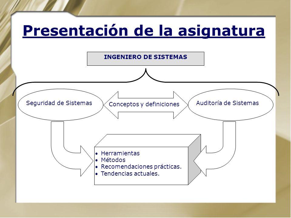 Presentación de la asignatura. Definición de los temas de investigación. Recursos, Amenazas, Riesgos y Controles. Temario