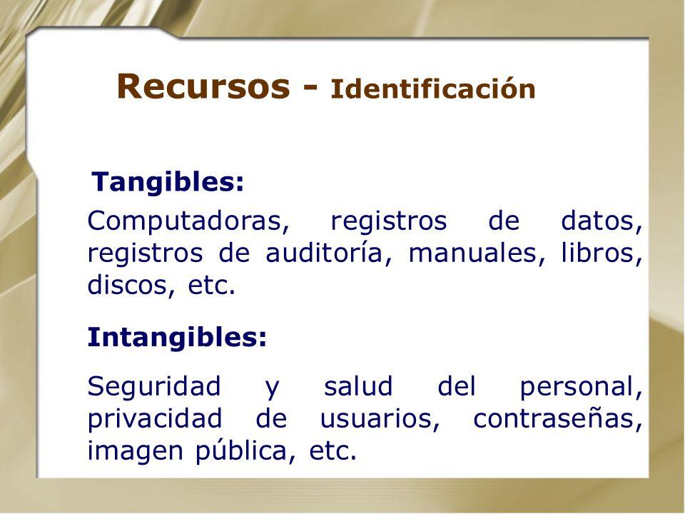 Recursos Instalaciones y Activos | Infraestructura Tecnológica o Hardware o Software o Información Explotación Tecnológica Recursos Humanos