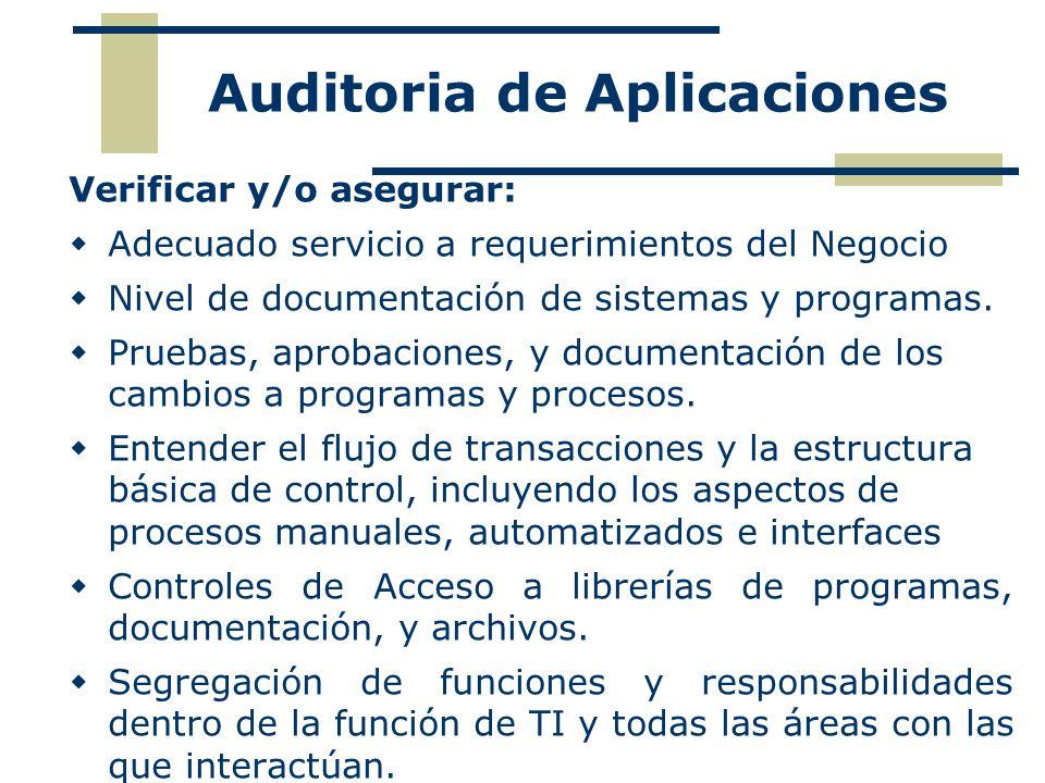 Verificar y/o asegurar: Adecuado servicio a requerimientos del Negocio Nivel de documentación de sistemas y programas. Pruebas, aprobaciones, y docume