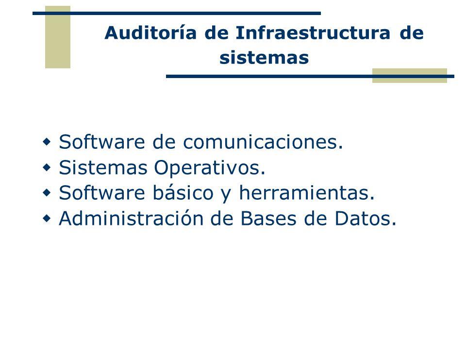 Auditoría de Infraestructura de sistemas Software de comunicaciones. Sistemas Operativos. Software básico y herramientas. Administración de Bases de D