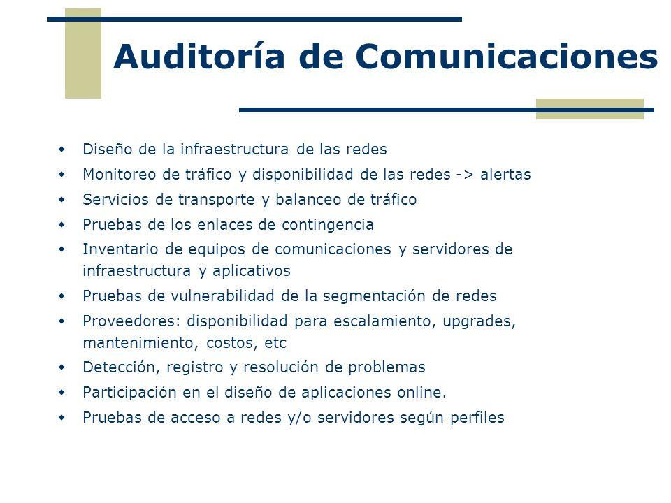Auditoría de Comunicaciones Diseño de la infraestructura de las redes Monitoreo de tráfico y disponibilidad de las redes -> alertas Servicios de trans