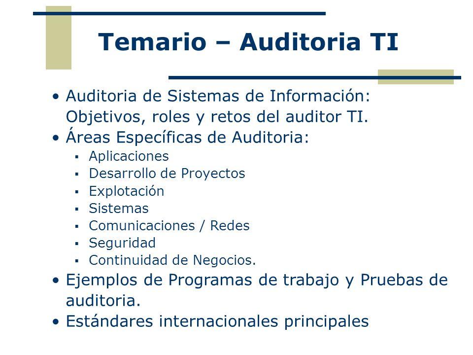 Auditoria de Sistemas de Información: Objetivos, roles y retos del auditor TI. Áreas Específicas de Auditoria: Aplicaciones Desarrollo de Proyectos Ex