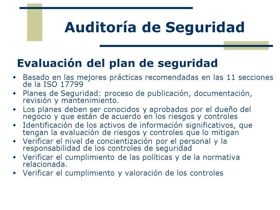Evaluación del plan de seguridad Basado en las mejores prácticas recomendadas en las 11 secciones de la ISO 17799 Planes de Seguridad: proceso de publ