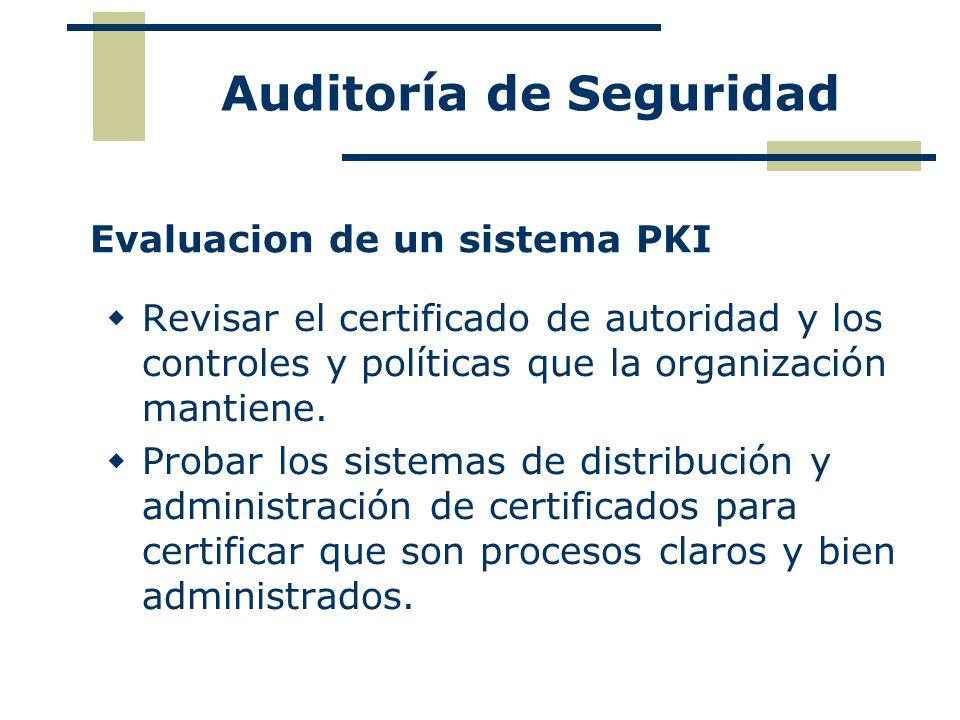 Evaluacion de un sistema PKI Revisar el certificado de autoridad y los controles y políticas que la organización mantiene. Probar los sistemas de dist