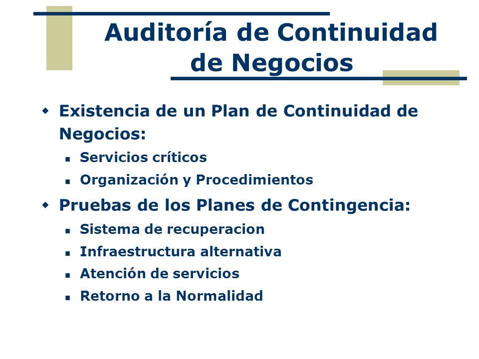 Auditoría de Continuidad de Negocios Existencia de un Plan de Continuidad de Negocios: Servicios críticos Organización y Procedimientos Pruebas de los