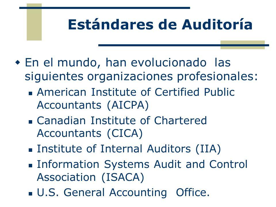 Estándares de Auditoría En el mundo, han evolucionado las siguientes organizaciones profesionales: American Institute of Certified Public Accountants