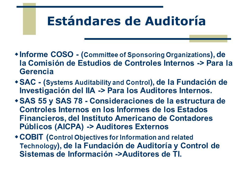 Estándares de Auditoría Informe COSO - ( Committee of Sponsoring Organizations ), de la Comisión de Estudios de Controles Internos -> Para la Gerencia