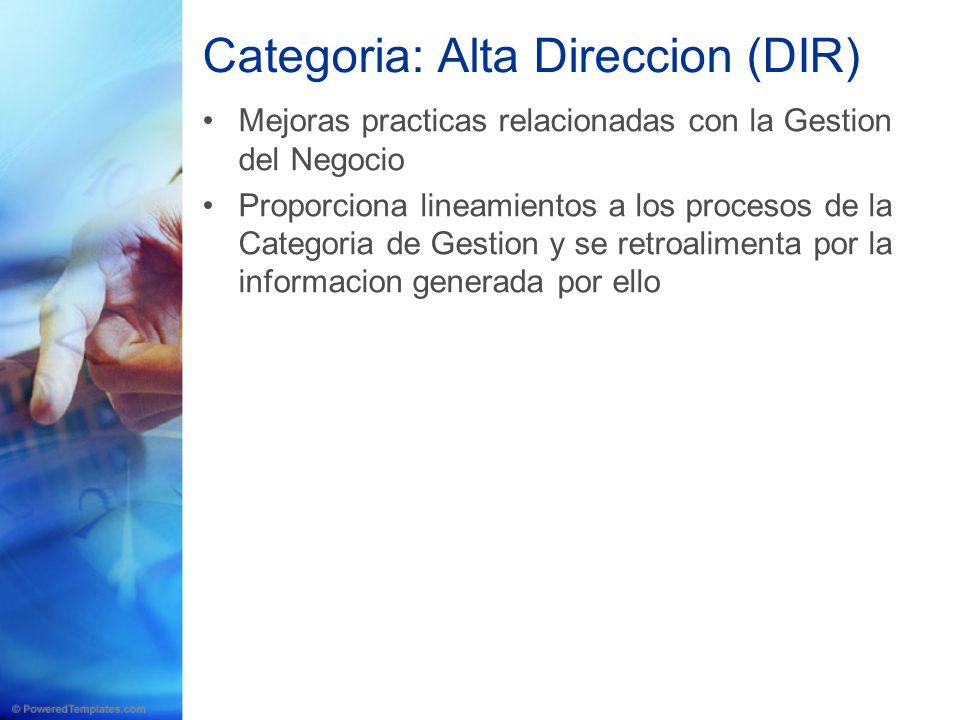 Categoria: Alta Direccion (DIR) Mejoras practicas relacionadas con la Gestion del Negocio Proporciona lineamientos a los procesos de la Categoria de G