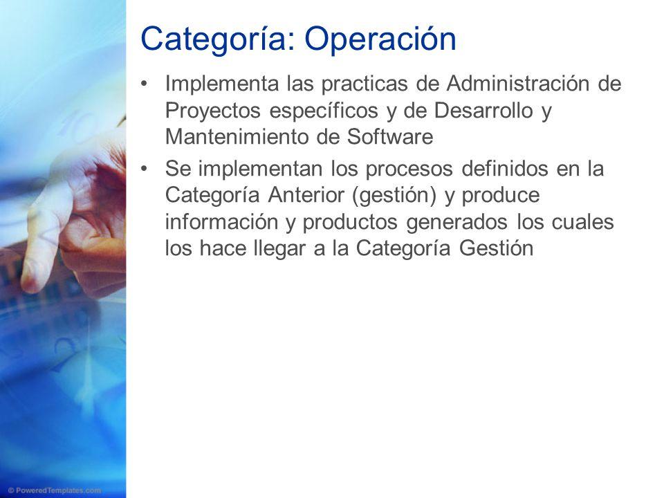 Categoría: Operación Implementa las practicas de Administración de Proyectos específicos y de Desarrollo y Mantenimiento de Software Se implementan lo